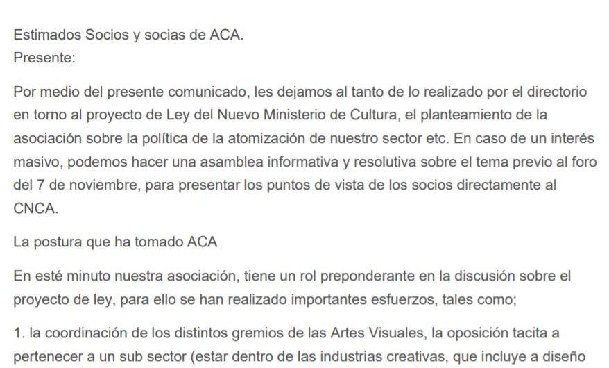 Comunicado ante tramitación Ley que crea el Ministerio de Cultura