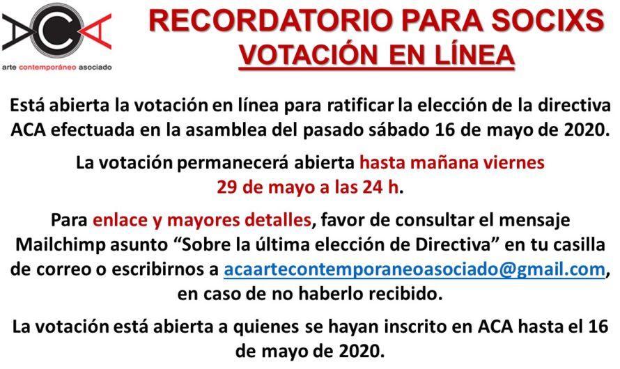 Recordatorio referéndum elecciones directiva 2020